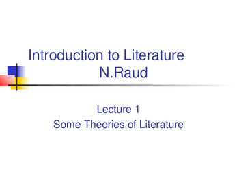Some theories of Literature