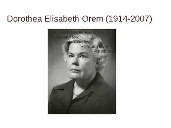 dorothy orem Dorothy orem's self-care model the focus of orem's model of nursing is to enhance the patient's ability for self-care and extend this ability to care for their dependents (orem, 2005) a person's self-care deficits are a result of their environment.